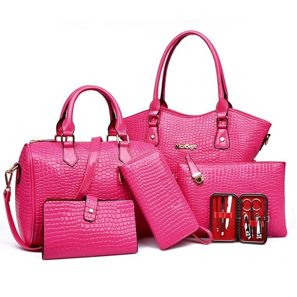 My Bag Lady Online Handbags - Embossed Croc Patent Faux Leather Bag Set